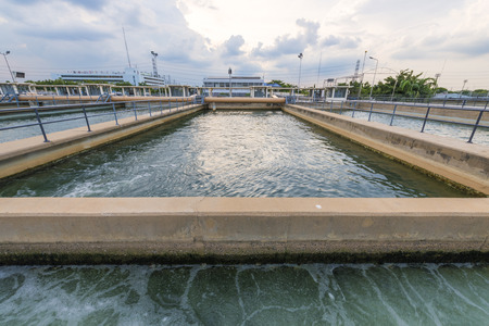 filtration: sand filtration tank at water treatment plant Stock Photo