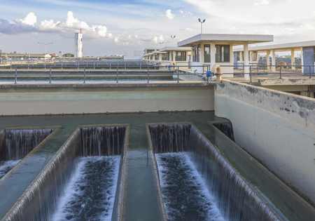 filtration: sand filtration tank Backwash Process Stock Photo