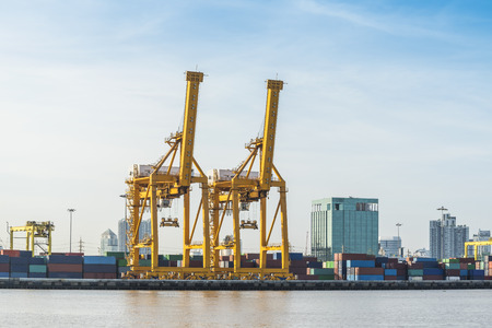 shipyard: working crane bridge in shipyard at Logistic Import Export zone Stock Photo