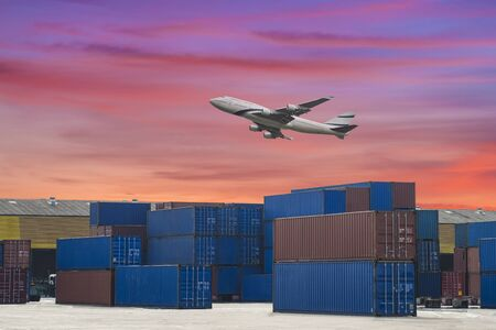 sea freight: industrial port with containers and air for logistic concept