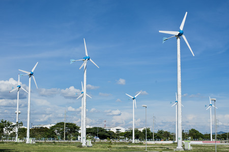 Wind Generators farm in industrail area