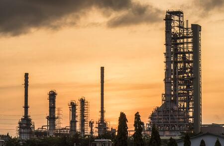 construction plant: Oil refinery at sunrise