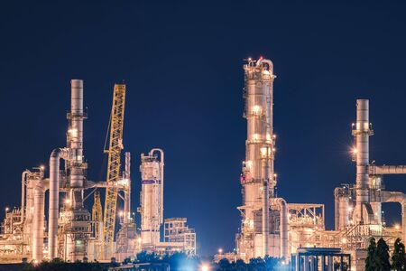 Oil and gas refinery in night Reklamní fotografie