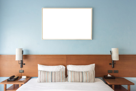 Beautiful and modern bedroom with empty wall for add some text, logo, image, etc. Stockfoto