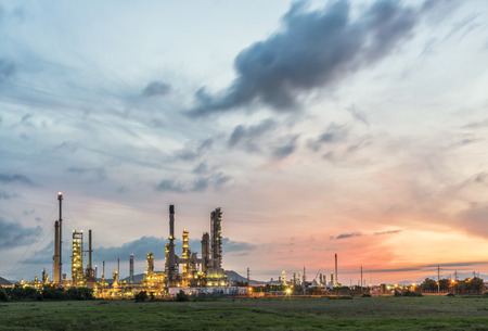 petrochemical: petrochemical plant with sunrise Stock Photo