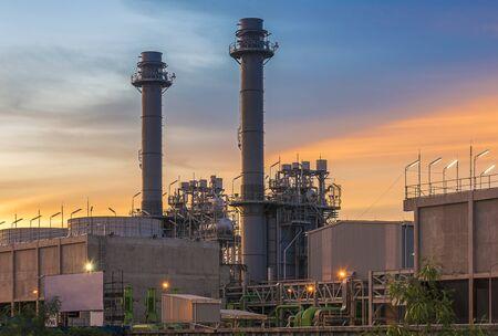 energiecentrale met zonsondergang Stockfoto