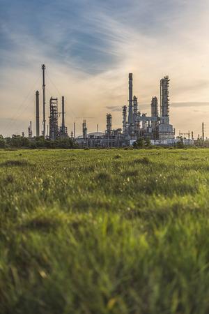 Oil refinery plant area at sunrise