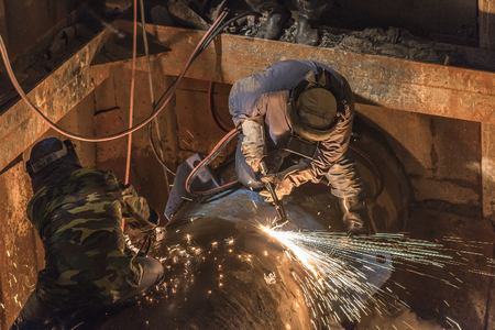 Pipe welding on the pipeline construction site