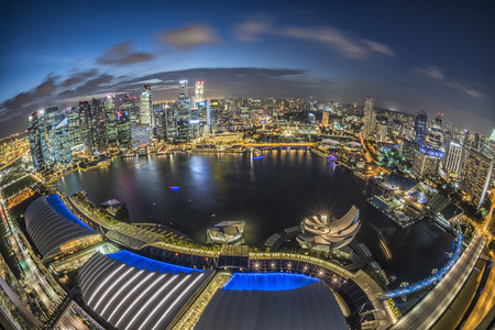commercial district: Singapore city at night Editorial