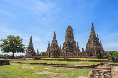 Oude tempel Wat Chaiwatthanaram in Ayutthaya, Thailand Stockfoto