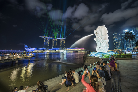 marina bay sand: Singapore, 31 January 2015, Marina Bay Sand Light and Sound show with Merlion, Marina Bay, Singapore Editorial