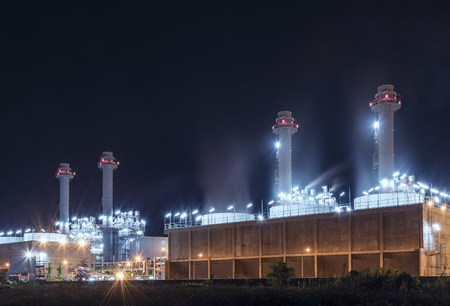 Modern Power Plant at Night