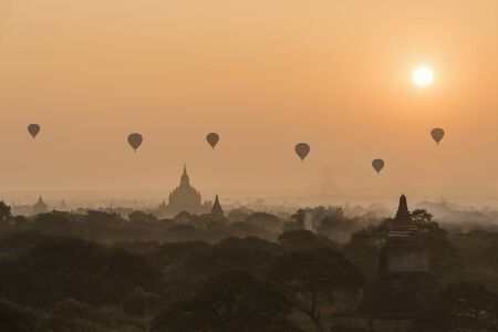 pagoda and temple with sunrise, Bagan, Myanmar