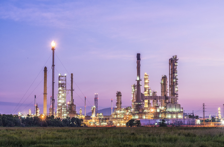 Oil refinery with twilight sky