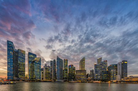 singapore city: Singapore skyline and Financial Building with river at Marina Bay Area