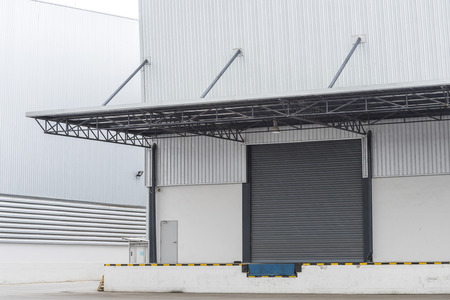 loading bay: cargo doors at the warehouse building