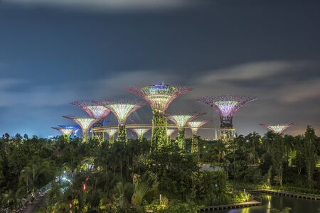 SINGAPORE-JAN 30: Day view of The Supertree Grove, Cloud Forest & Flower Dome at Gardens by the Bay on Jan 30, 2015 in Singapore. Spanning 101 hectares, and five-minute walk from Bayfront MRT Station.