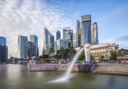 singapore culture: Singapore skyline and river at Merlion Bay