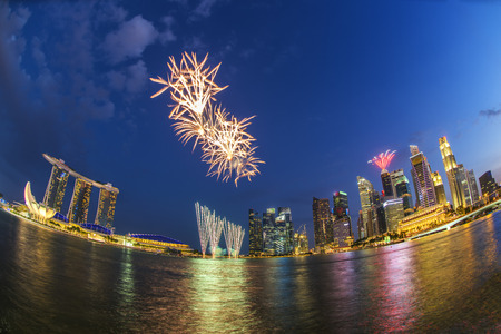 Fireworks over Marina bay in Singapore on National day
