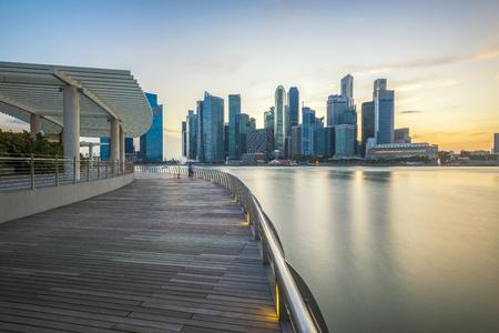 De Horizon van Singapore bij schemer