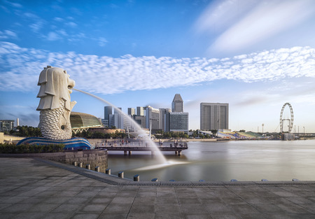 symbol tourism: Sunrise in the morning at merlion Singapore Marina Bay sand