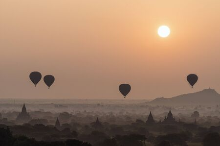 Temple in Bagan with hot air balloon in the morning, Bagan, Myanmar