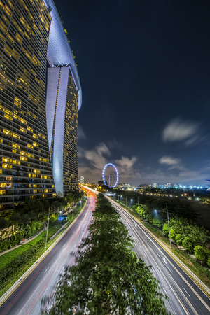 Singapore skyline, uitzicht vanaf de Garden by the Bay