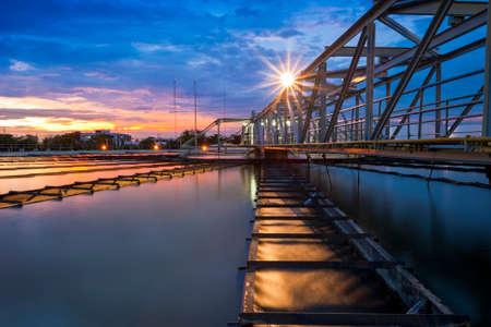 Water Treatment Plant with sunrise Foto de archivo