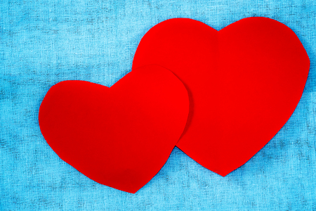 valentine s day: Red paper heart on fabric background, Valentine s Day.