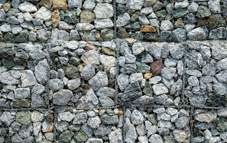 tight filled: Gabions wall, Full frame. Stock Photo