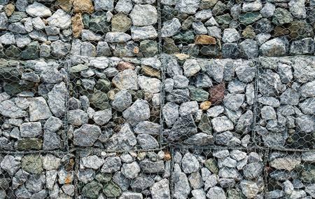 gabion mesh: Gabions wall, Full frame. Stock Photo
