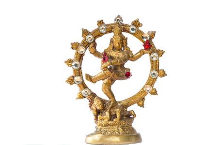 bharatanatyam dance: Shiva Nataraja statue on white background. IndiaHindu god. Stock Photo