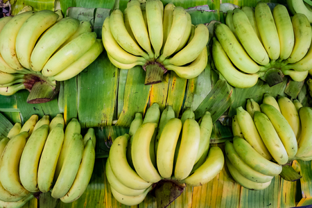 ingradient: Banana on banana leaf. Top view, selective focus. Stock Photo