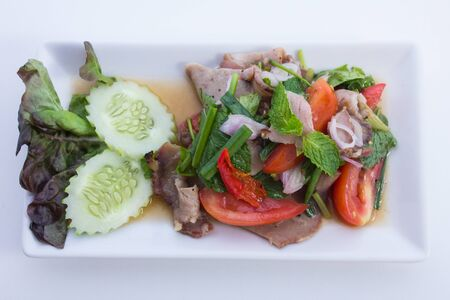 Spicy  neck pork  is food thailand photo