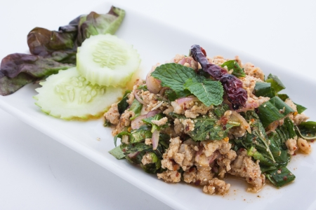 minced: Spicy minced pork is food thailand
