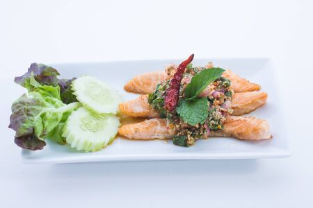 Spicy salmon is food thailand photo