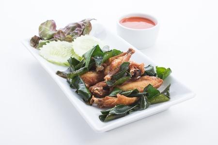 Chicken fried herbs is food thailand photo