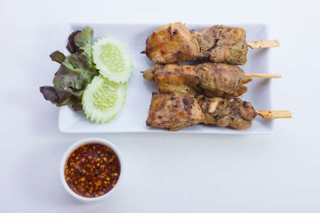 Grilled chicken skewers is food thailand photo