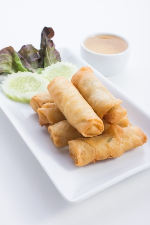 Spring Rolls is food thailand Stock Photo