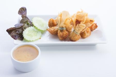 potstickers: Fried pork dumplings wrapped is food thailand Stock Photo