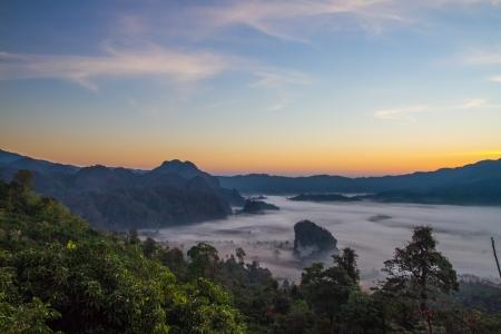 The morning sun-Phulangkha at Phayao in thailand  Stock Photo