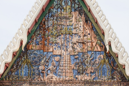 wood carvings: architectural wood carvings at Phetchaburi in thailand  Stock Photo