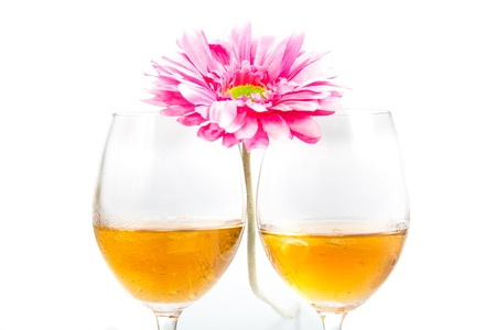 Wide drinking, and flowers. Romantic. photo