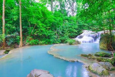 background waterfalls: Erawan waterfall National Park Kanjanaburi Thailand