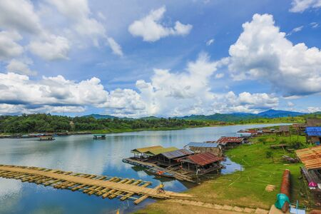 Wooden bridge sangkla at Kanchanaburi in Thailand. Stock Photo