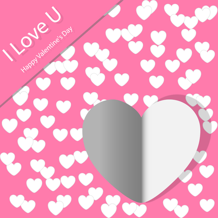 paper heart Valentines day card with sign on ornate background Vector