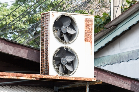 condenser: Air condenser on the roof Stock Photo