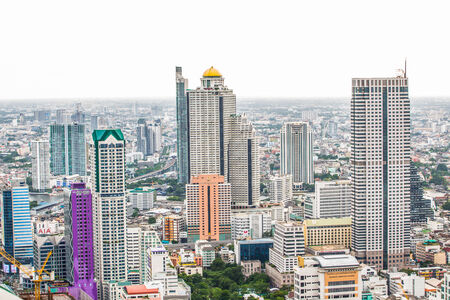Bangkok Cityscape, a business district with tall buildings (Bangkok, Thailand).