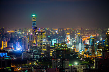Bangkok City at night, hotel and residential space in the business district of the capital.thailand