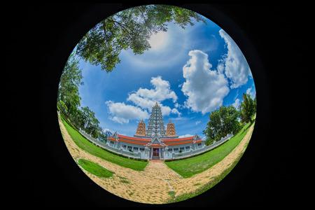 beautiful pagoda wat yan na sang wararam a Buddhist place of worship and a tourist attraction in Pattaya Thailand.Fisheye